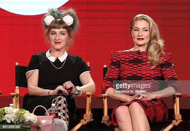 Actors Kimmy Robertson left and Madchen Amick of the television show 'Twin Peaks' speak onstage during the Showtime portion of the 2017 Winter...