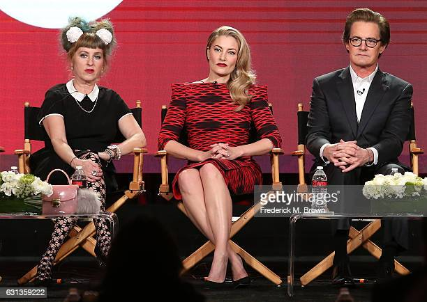 Actors Kimmy Robertson Madchen Amick and Kyle MacLachlan of the television show 'Twin Peaks' speak onstage during the Showtime portion of the 2017...