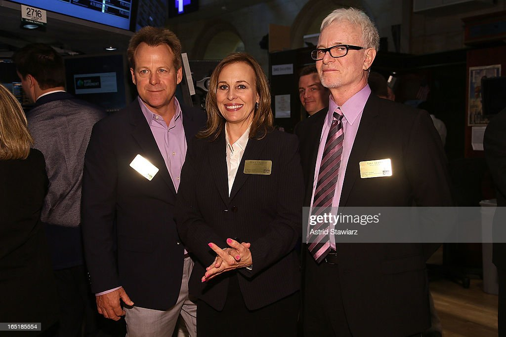 Actors Kin Shriner, Genie Francis and Tony Geary of ABCÕs soap opera General Hospital ring the opening bell at the New York Stock Exchange on April 1, 2013 in New York City.