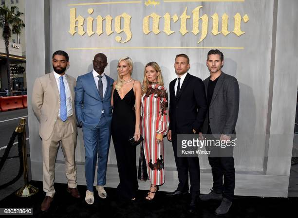 Actors Kingsley BenAdir Djimon Hounsou Poppy Delevingne Annabelle Wallis Charlie Hunnam and Eric Bana attend the premiere of Warner Bros Pictures'...