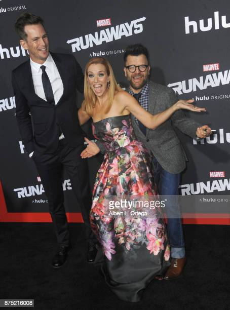 Actors Kip Pardue Annie Wersching and Kevin Weisman arrive for the Premiere Of Hulu's 'Marvel's Runaways' held at Regency Bruin Theatre on November...