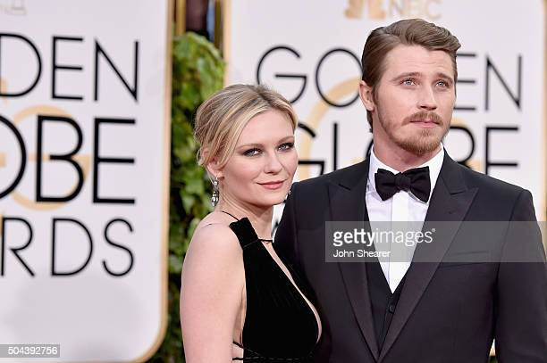 Actors Kirsten Dunst and Garrett Hedlund attend the 73rd Annual Golden Globe Awards held at the Beverly Hilton Hotel on January 10 2016 in Beverly...