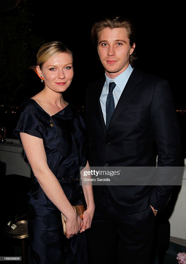 """Actors <a gi-track='captionPersonalityLinkClicked' href=/galleries/search?phrase=Kirsten+Dunst&family=editorial&specificpeople=171590 ng-click='$event.stopPropagation()'>Kirsten Dunst</a> and <a gi-track='captionPersonalityLinkClicked' href=/galleries/search?phrase=Garrett+Hedlund&family=editorial&specificpeople=2290407 ng-click='$event.stopPropagation()'>Garrett Hedlund</a> attend W Magazine's 'Best Performances Issue"""" and the Golden Globe Awards celebration with W Magazine, Cadillac and Dom Pérignon at Chateau Marmont on January 11, 2013 in Los Angeles, California."""