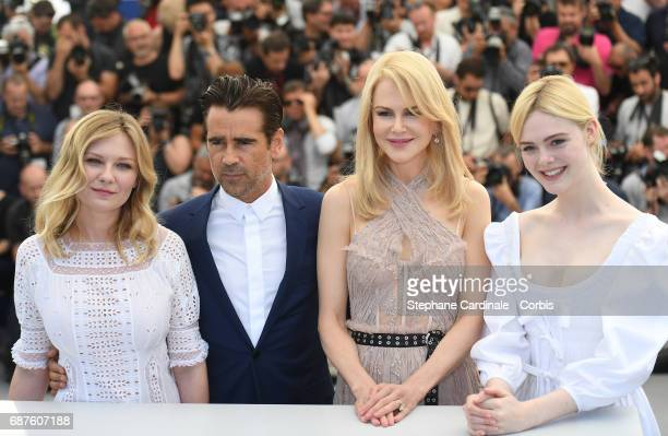 Actors Kirsten Dunst Colin Farrell Nicole Kidman and Elle Fanning attend 'The Beguiled' photocall during the 70th annual Cannes Film Festival at...