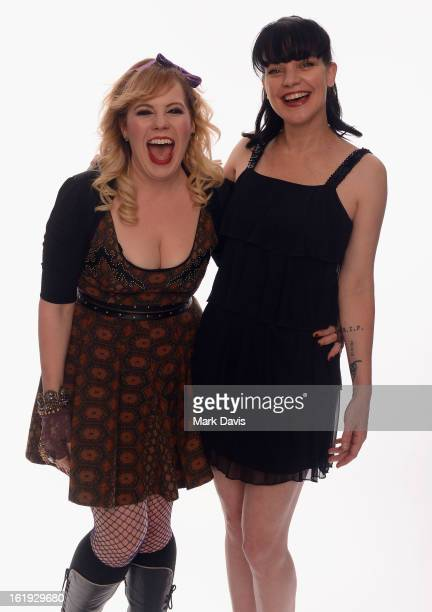 Actors Kirsten Vangsness and Pauley Perrette pose for a portrait in the TV Guide Portrait Studio at the 3rd Annual Streamy Awards at Hollywood...