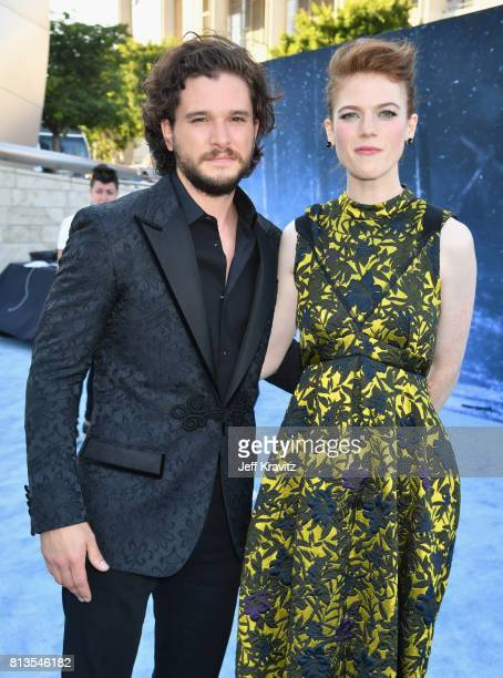 Actors Kit Harington and Rose Leslie at the Los Angeles Premiere for the seventh season of HBO's 'Game Of Thrones' at Walt Disney Concert Hall on...