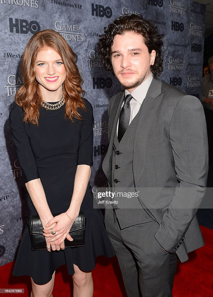 Actors <a gi-track='captionPersonalityLinkClicked' href=/galleries/search?phrase=Kit+Harington&family=editorial&specificpeople=7470548 ng-click='$event.stopPropagation()'>Kit Harington</a> and <a gi-track='captionPersonalityLinkClicked' href=/galleries/search?phrase=Rose+Leslie&family=editorial&specificpeople=7275579 ng-click='$event.stopPropagation()'>Rose Leslie</a> attend HBO's 'Game Of Thrones' Season 3 Seattle Premiere on March 21, 2013 in Seattle, Washington.