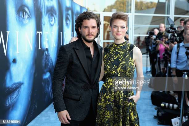 Actors Kit Harington and Rose Leslie attend the premiere of HBO's 'Game Of Thrones' season 7 at Walt Disney Concert Hall on July 12 2017 in Los...