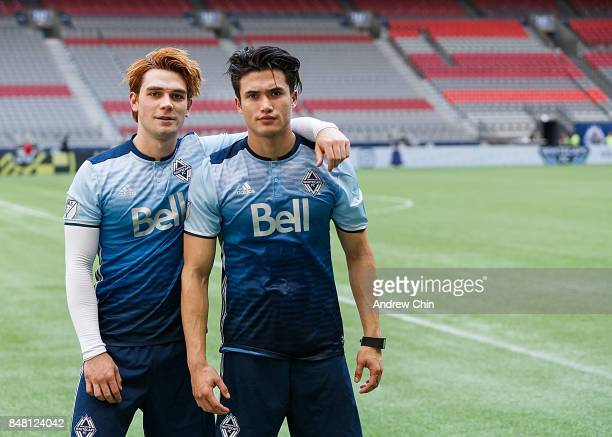 Actors KJ Apa and Charles Melton pose for a picture during the Legends And Stars Whitecaps FC Charity Alumni match at BC Place on September 16 2017...