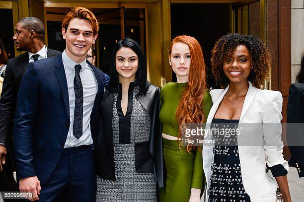 Actors KJ Apa Camilla Mendes Madelaine Petsch and Ashleigh Murray leave the New York City Center on May 19 2017 in New York City