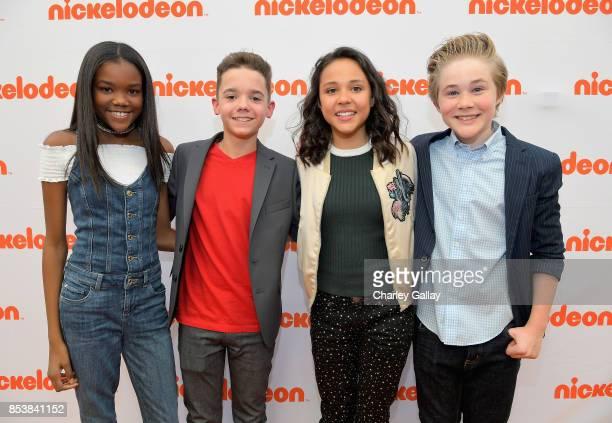 Actors Klarke Pipkin AJ Luis Rivera Jr Breanna Yde and Casey Simpson at Nickelodeon's 'Escape From Mr Lemoncello's Library' premiere event at...