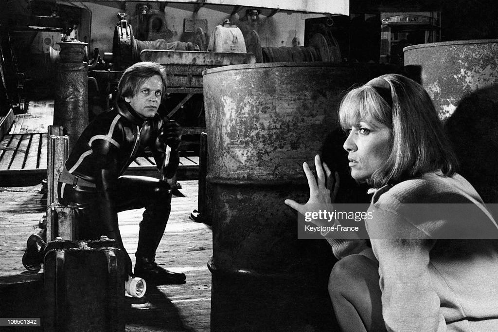 Actors Klaus Kinski And Stephane Audran Play A Scene For The Film 'La Peau De Torpedo' By Jean Delannoy, On August 14Th 1969.