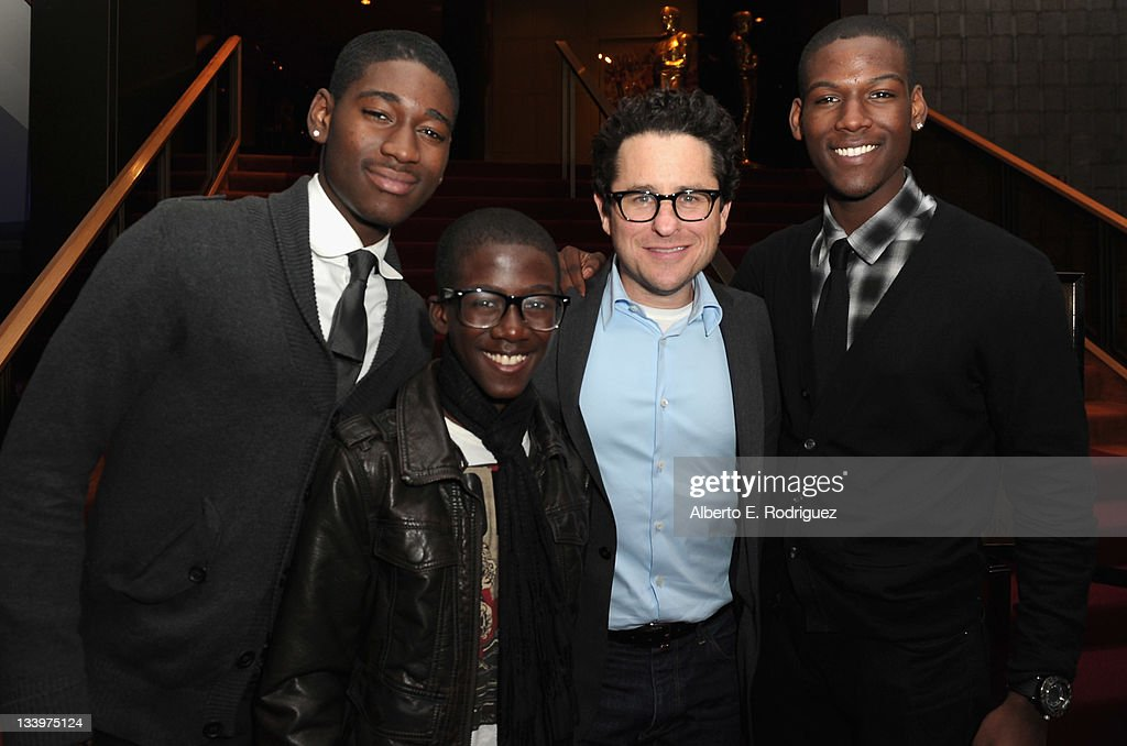 Actors Kofi Siriboe, Kwesi Boakye, Director/Writer <a gi-track='captionPersonalityLinkClicked' href=/galleries/search?phrase=J.J.+Abrams&family=editorial&specificpeople=253632 ng-click='$event.stopPropagation()'>J.J. Abrams</a> and actor Kwame Boakye attend Paramount Pictures' 'Super 8' Blu-ray and DVD release party at AMPAS Samuel Goldwyn Theater on November 22, 2011 in Beverly Hills, California.