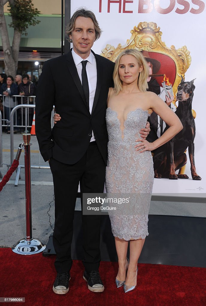 Actors Kristen Bell and Dax Shepard arrive at the premiere of USA Pictures' 'The Boss' at Regency Village Theatre on March 28 2016 in Westwood...