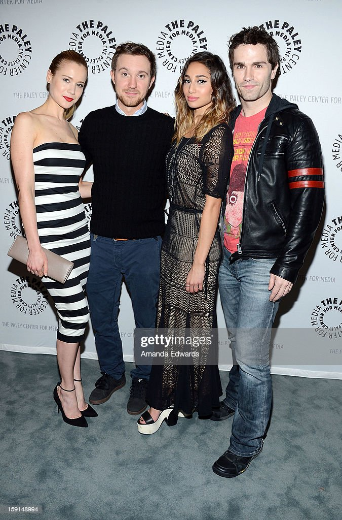 Actors Kristen Hager, <a gi-track='captionPersonalityLinkClicked' href=/galleries/search?phrase=Sam+Huntington&family=editorial&specificpeople=546776 ng-click='$event.stopPropagation()'>Sam Huntington</a>, <a gi-track='captionPersonalityLinkClicked' href=/galleries/search?phrase=Meaghan+Rath&family=editorial&specificpeople=7433544 ng-click='$event.stopPropagation()'>Meaghan Rath</a> and <a gi-track='captionPersonalityLinkClicked' href=/galleries/search?phrase=Sam+Witwer&family=editorial&specificpeople=4631209 ng-click='$event.stopPropagation()'>Sam Witwer</a> arrive at The Paley Center for Media presents an evening with Syfy's 'Being Human' season 3 premiere screening and panel at The Paley Center for Media on January 8, 2013 in Beverly Hills, California.