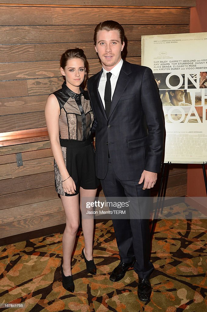 Actors <a gi-track='captionPersonalityLinkClicked' href=/galleries/search?phrase=Kristen+Stewart&family=editorial&specificpeople=2166264 ng-click='$event.stopPropagation()'>Kristen Stewart</a> and her co-star <a gi-track='captionPersonalityLinkClicked' href=/galleries/search?phrase=Garrett+Hedlund&family=editorial&specificpeople=2290407 ng-click='$event.stopPropagation()'>Garrett Hedlund</a> attend a special screening of 'On The Road' at Sundance Cinema on December 6, 2012 in Los Angeles, California.