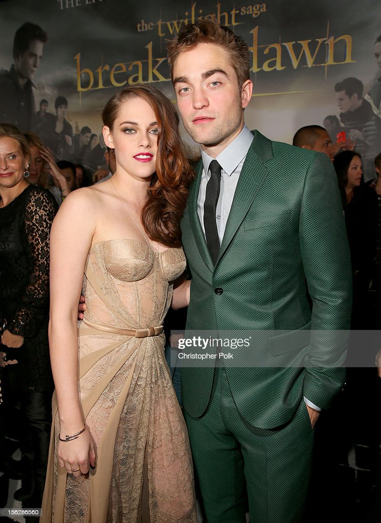 Actors Kristen Stewart (L) and Robert Pattinson arrive at the premiere of Summit Entertainment's 'The Twilight Saga: Breaking Dawn - Part 2' at Nokia Theatre L.A. Live on November 12, 2012 in Los Angeles, California.