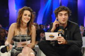 Actors Kristen Stewart and Robert Pattinson from the movie 'Twilight' visit MuchMusic Headquarters for a special Live@Much interview on November 15...