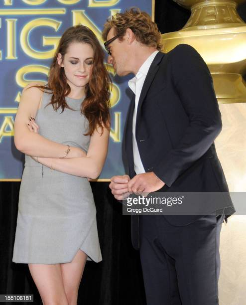Actors Kristen Stewart and Simon Baker attend the Hollywood Foreign Press Association Cecil B DeMille Award recipient announcement at Beverly Hills...
