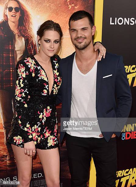 Actors Kristen Stewart and Taylor Lautner attend the premiere of Lionsgate's 'American Ultra' at Ace Theater Downtown LA on August 18 2015 in Los...