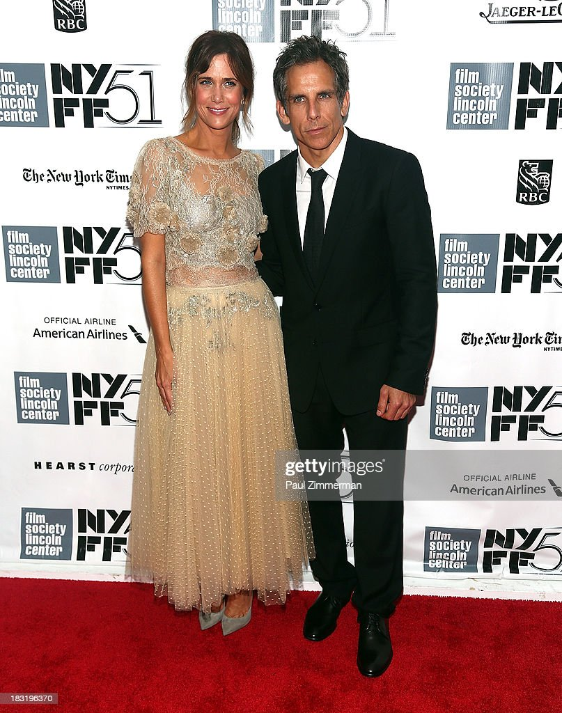 Actors Kristen Wigg (L) and <a gi-track='captionPersonalityLinkClicked' href=/galleries/search?phrase=Ben+Stiller&family=editorial&specificpeople=201806 ng-click='$event.stopPropagation()'>Ben Stiller</a> attend the Centerpiece Gala Presentation Of 'The Secret Life Of Walter Mitty' premiere during the 51st New York Film Festival at Alice Tully Hall at Lincoln Center on October 5, 2013 in New York City.