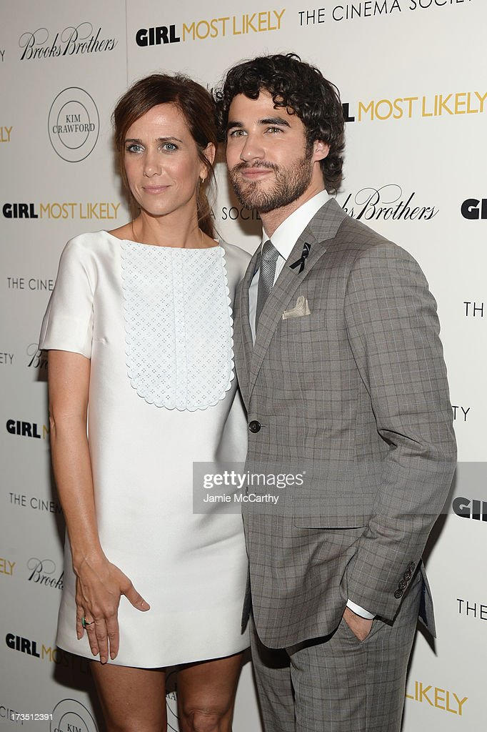 Actors Kristen Wiig and Darren Criss attend the screening of Lionsgate and Roadside Attractions' 'Girl Most Likely' hosted by The Cinema Society & Brooks Brothers at Landmark's Sunshine Cinema on July 15, 2013 in New York City.