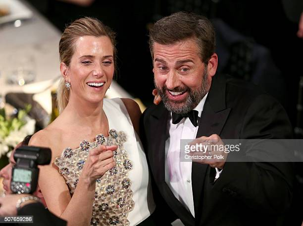 Actors Kristen Wiig and Steve Carell attend The 22nd Annual Screen Actors Guild Awards at The Shrine Auditorium on January 30 2016 in Los Angeles...