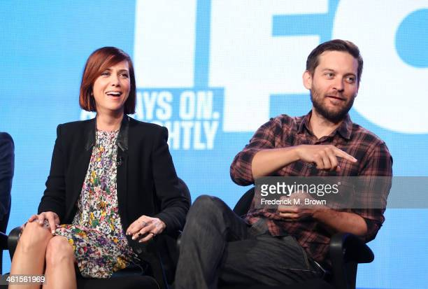 Actors Kristen Wiig and Tobey Maguire speak onstage during the 'The Spoils of Babylon' panel discussion at the Independent Film Channel portion of...