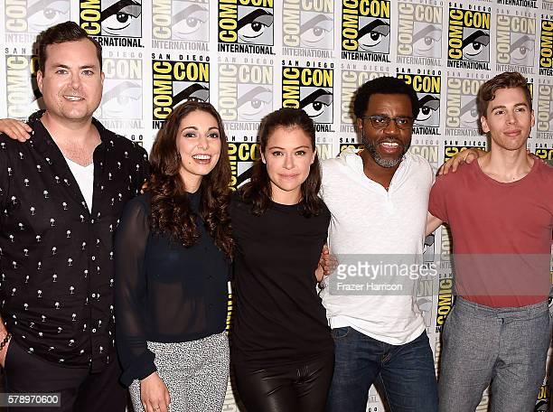 Actors Kristian Bruun Kathryn Alexandre Tatiana Maslany Kevin Hanchard and Jordan Gavaris attend ComicCon International 2016 'Orphan Black' press...
