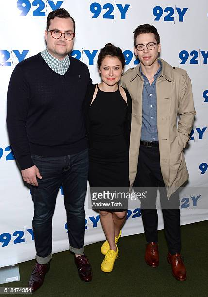 Actors Kristian Bruun Tatiana Maslany and Jordan Gavaris attend An Evening with the Cast CoCreator of 'Orphan Black' at 92nd Street Y on March 31...