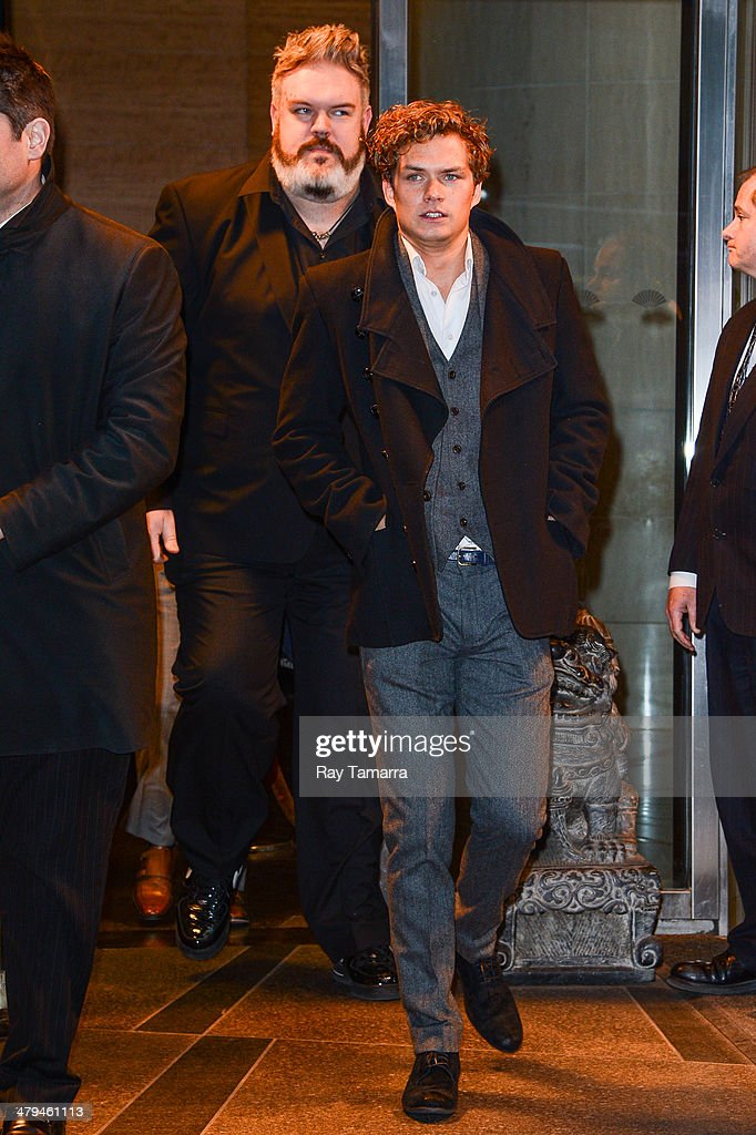 Actors Kristian Nairn (L) and Finn Jones leave a Midtown Manhattan hotel on March 18, 2014 in New York City.