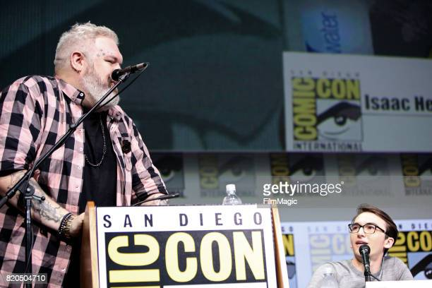 Actors Kristian Nairn and Isaac Hempstead Wright speak at the 'Game of Thrones' panel with HBO at San Diego ComicCon International 2017 at San Diego...