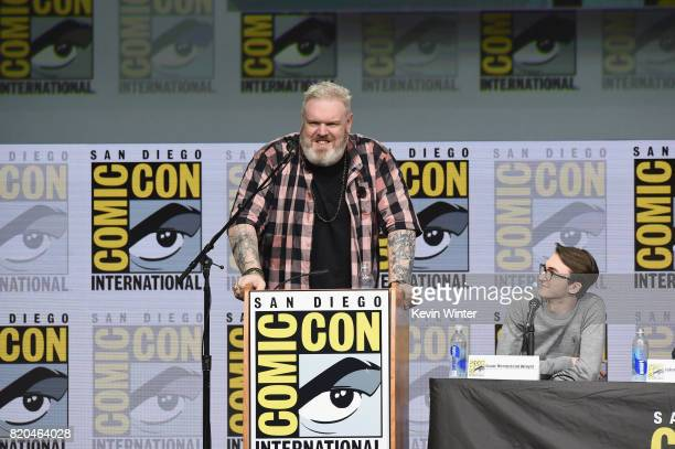 Actors Kristian Nairn and Isaac Hempstead Wright speak onstage at ComicCon International 2017 'Game Of Thrones' panel And QA Session at San Diego...