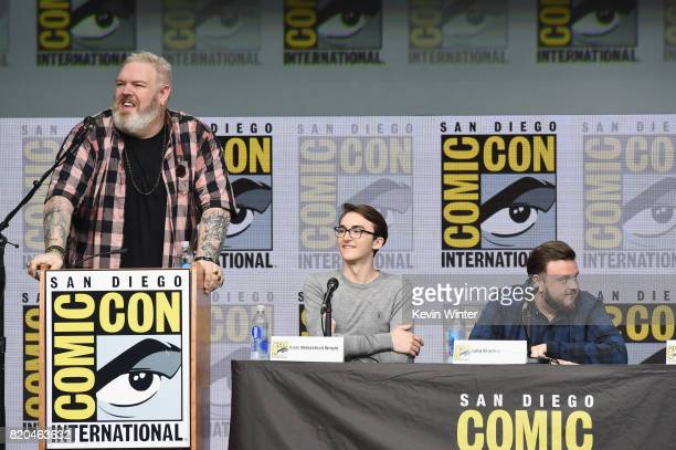 Actors Kristian Nairn Isaac Hempstead Wright and John Bradley speak onstage at ComicCon International 2017 'Game Of Thrones' panel And QA Session at...