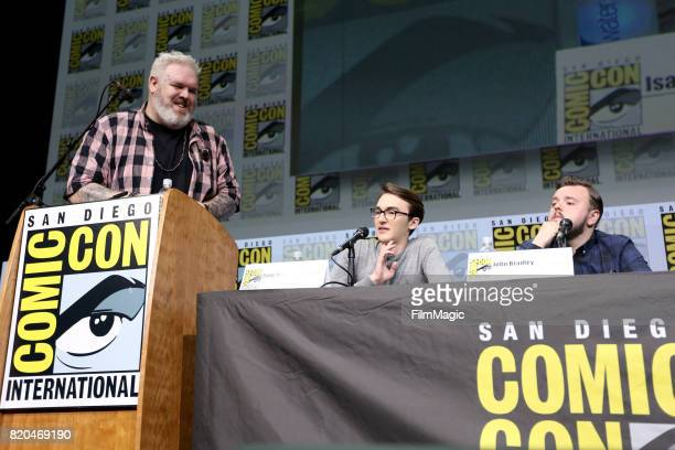 Actors Kristian Nairn Isaac Hempstead Wright and John Bradley speak at the 'Game of Thrones' panel with HBO at San Diego ComicCon International 2017...
