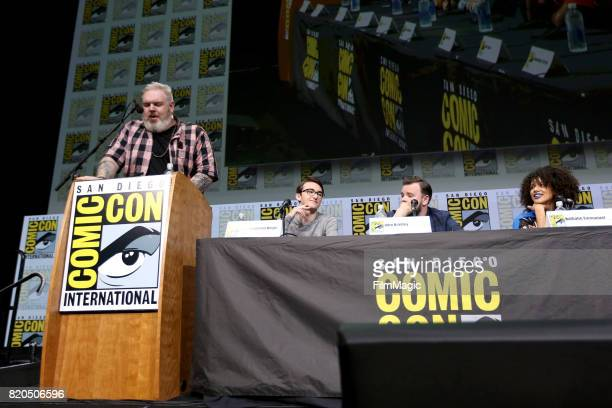 Actors Kristian Nairn Isaac Hempstead Wright John Bradley and Nathalie Emmanuel speak at the 'Game of Thrones' panel with HBO at San Diego ComicCon...
