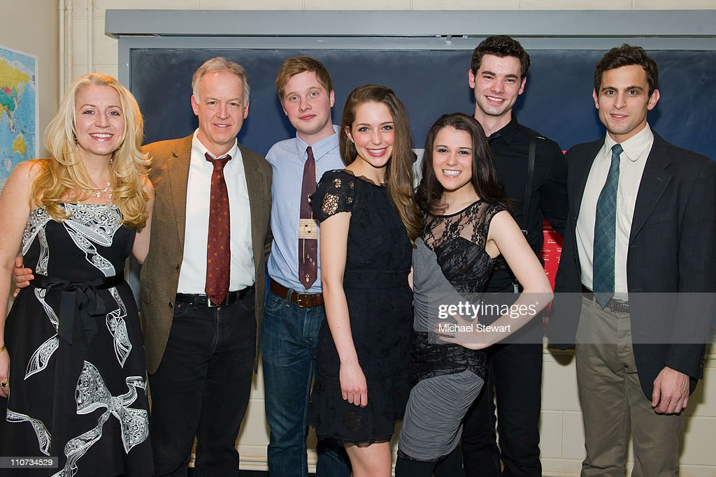 Actors Kristie Dale Sanders, Reed Birney, Josh Caras, Jessica Rothenberg, Alexandra Socha, Jake O'Connor and Matt Dellapina attend the opening night of 'The Dream of the Burning Boy' at Roundabout Theatre Company Black Box Theatre on March 23, 2011 in New York City.