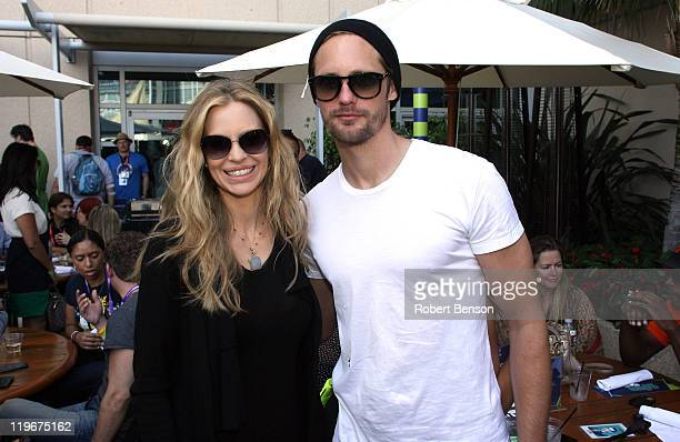Actors Kristin Bauer and Alexander Skarsgard attend day 3 of WIRED Cafe at ComicCon Day 3 at Palm Terrace At The Omni Hotel on July 23 2011 in San...