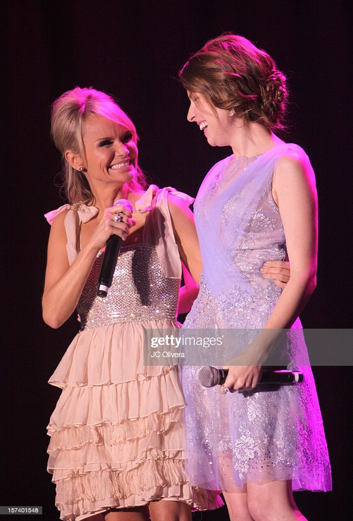 Actors <a gi-track='captionPersonalityLinkClicked' href=/galleries/search?phrase=Kristin+Chenoweth&family=editorial&specificpeople=207096 ng-click='$event.stopPropagation()'>Kristin Chenoweth</a> (L) and <a gi-track='captionPersonalityLinkClicked' href=/galleries/search?phrase=Anna+Kendrick&family=editorial&specificpeople=3244893 ng-click='$event.stopPropagation()'>Anna Kendrick</a> onstage 'Trevor Live' honoring Katy Perry and Audi of America for The Trevor Project held at The Hollywood Palladium on December 2, 2012 in Los Angeles, California.