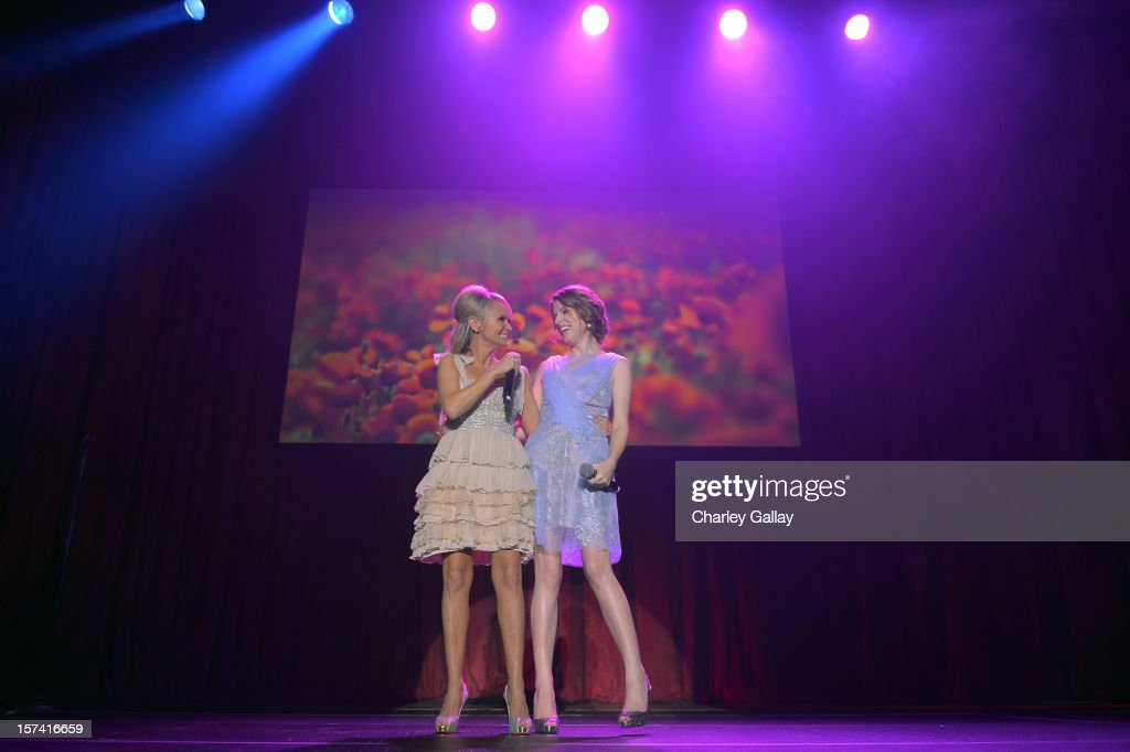 Actors <a gi-track='captionPersonalityLinkClicked' href=/galleries/search?phrase=Kristin+Chenoweth&family=editorial&specificpeople=207096 ng-click='$event.stopPropagation()'>Kristin Chenoweth</a> (L) and <a gi-track='captionPersonalityLinkClicked' href=/galleries/search?phrase=Anna+Kendrick&family=editorial&specificpeople=3244893 ng-click='$event.stopPropagation()'>Anna Kendrick</a> perform onstage at 'Trevor Live' honoring Katy Perry and Audi of America for The Trevor Project held at The Hollywood Palladium on December 2, 2012 in Los Angeles, California.