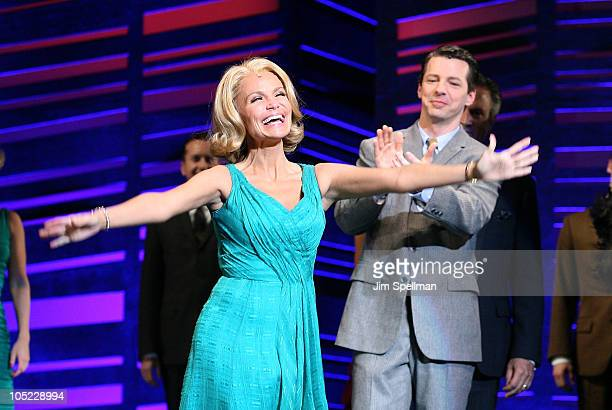 Actors Kristin Chenoweth and Sean Hayes attend the 'Promises Promises' curtain call at Broadway Theatre on October 12 2010 in New York City