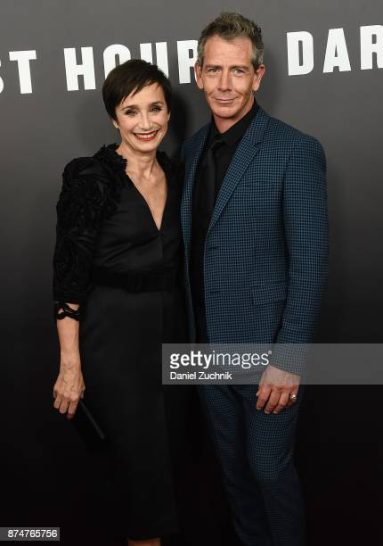 Actors Kristin Scott Thomas and Ben Mendelsohn attend the 'Darkest Hour' New York Premiere at Paris Theatre on November 15 2017 in New York City