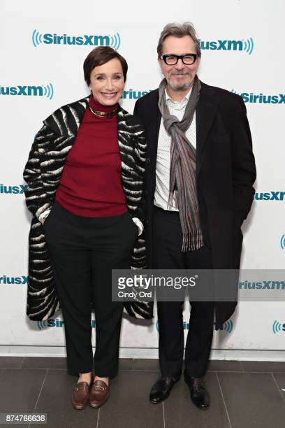 Actors Kristin Scott Thomas and Gary Oldman visit the SiriusXM Studios on November 15 2017 in New York City