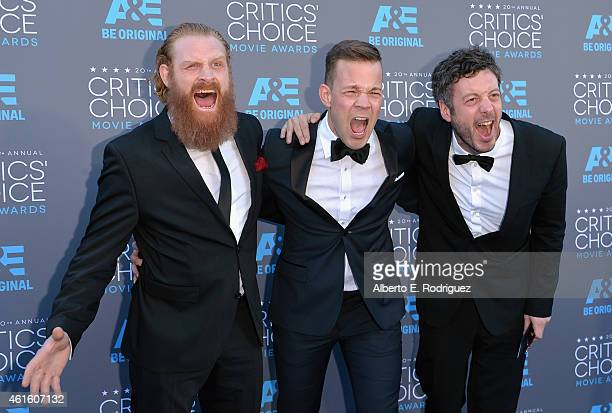 Actors Kristofer Hivju Johannes Kuhnke and editor Jacob Secher Schulsinger attend the 20th annual Critics' Choice Movie Awards at the Hollywood...