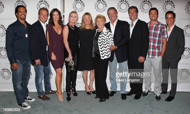 Actors Kristoff St John Doug Davidson Michelle Stafford and Melody Thomas Scott writer Maria Arena Bell and actors Jeanne Cooper Eric Braeden Peter...