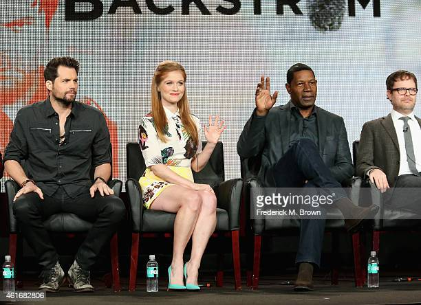 Actors Kristoffer Polaha Genevieve Angelson and Dennis Haysbert and actor/Executive Producer Rainn Wilson speak onstage during the 'Backstrom' panel...