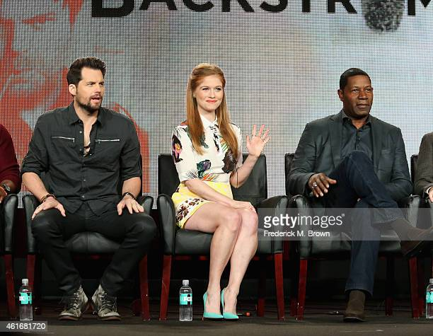 Actors Kristoffer Polaha Genevieve Angelson and Dennis Haysbert speak onstage during the 'Backstrom' panel discussion at the FOX portion of the 2015...