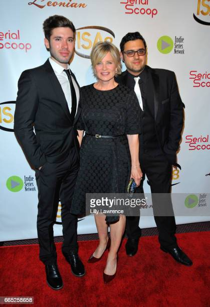 Actors Kristos Andrews Mary Beth Evans and producer Gregori J Martin arrive at the 8th Annual Indie Series Awards at The Colony Theater on April 5...