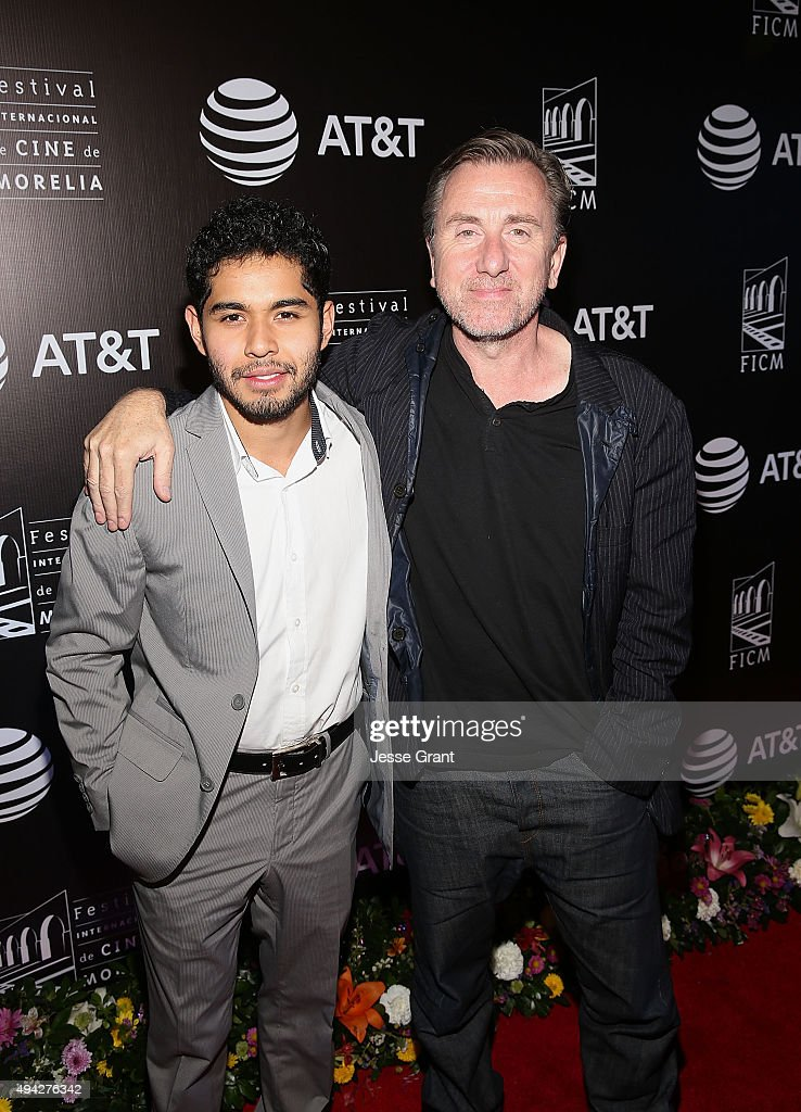 Actors Kristyan Ferrer and Tim Roth attend the Mexican premiere of '600 Millas' during The 13th Annual Morelia International Film Festival on October 25, 2015 in Morelia, Mexico.