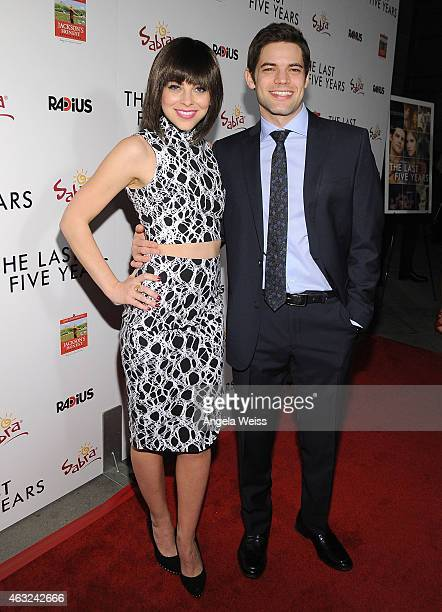 Actors Krysta Rodriguez and Jeremy Jordan attend the premiere of RADiUS' 'The Last Five Years' at ArcLight Hollywood on February 11 2015 in Hollywood...